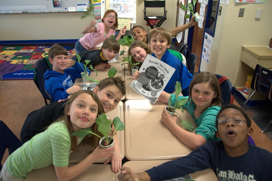 3rd Graders excited about getting their cabbages